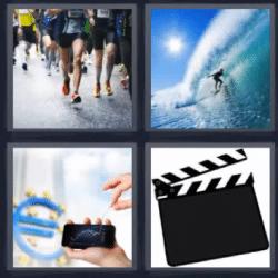 4 fotos 1 palabra surf gente corriendo