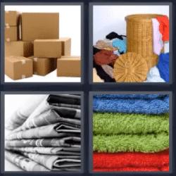 4 fotos 1 palabra cajas de carton