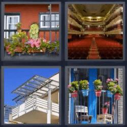 4 Fotos 1 Palabra Terraza Balcon Con Macetas Teatro Gradas