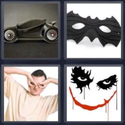 4 fotos 1 palabra coche negro y antifaz