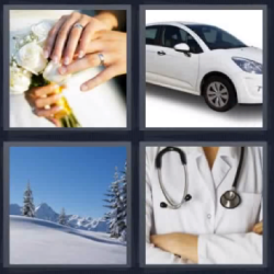 4 fotos 1 palabra recien casados dedos
