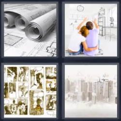4 fotos 1 palabra rollos papel planos