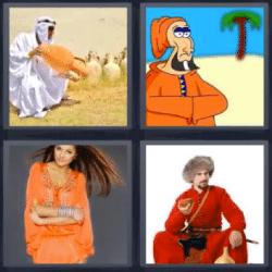 4 fotos 1 palabra arabe con jarron