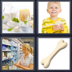 4 fotos 1 palabra queso leche