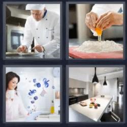 4 fotos 1 palabra cocinero o chef