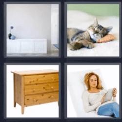 4 fotos 1 palabra mueble gato mujer leyendo respuesta aqu