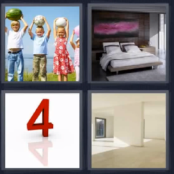 4 fotos 1 palabra ninos y numero 4