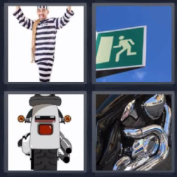 4 fotos 1 palabra preso moto