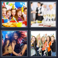4 fotos 1 palabra niños celebrando