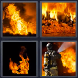 4 fotos 1 palabra fuego bombero