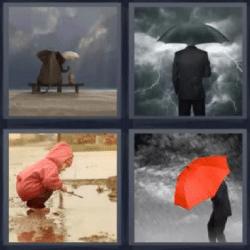 4 fotos 1 palabra paraguas nube
