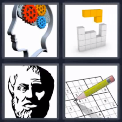 4 fotos 1 palabra cerebro con engranajes