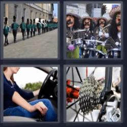 4 fotos 1 palabra engranajes de bicicleta