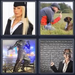 4 fotos 1 palabra graduada perro maestra