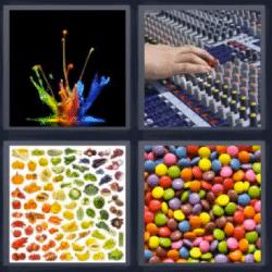 4 fotos 1 palabra colores confites