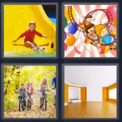 4 fotos 1 palabra tobogán amarillo montaña rusa