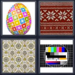 4 fotos 1 palabra huevo de colores