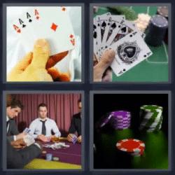 4 fotos 1 palabra cartas fichas