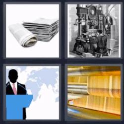 4 fotos 1 palabra periodicos maquina