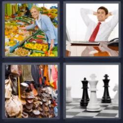 4 fotos 1 palabra frutas de colores