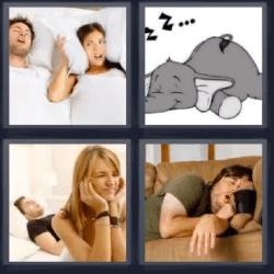 4 fotos 1 palabra elefante durmiendo