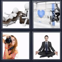 4 fotos 1 palabra mujer fotografa hombre meditando