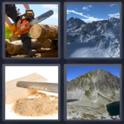 4 fotos 1 palabra montanas madera