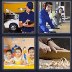 4 fotos 1 palabra mecánico niños