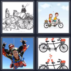 4 fotos 1 palabra bicicletas dobles