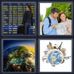 4 fotos 1 palabra pareja viendo un mapa