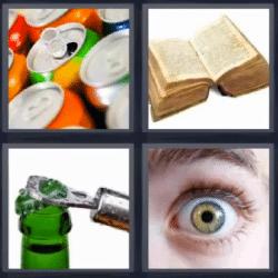 4 fotos 1 palabra latas libro ojo