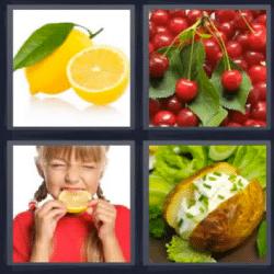 4 fotos 1 palabra limón cerezas