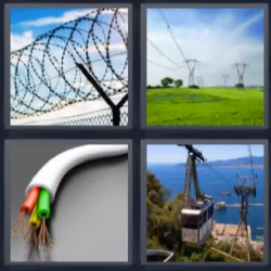 4 fotos 1 palabra cable alambrada