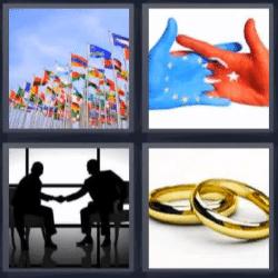 4 fotos 1 palabra banderas anillos