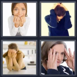 4 fotos 1 palabra mujer con manos en la cabeza