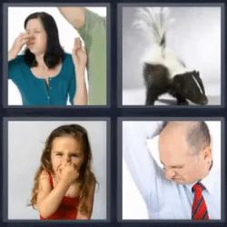4 fotos 1 palabra mujer oliendo axila