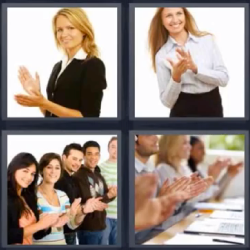 4 fotos 1 palabra mujer aplaudiendo