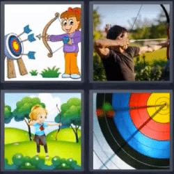 4 fotos 1 palabra tiro con arco