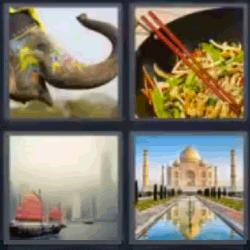 4 fotos 1 palabra elefante comida