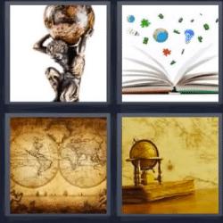 4 fotos 1 palabra estatua hombre con bola del mundo