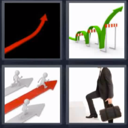4 fotos 1 palabra flecha roja