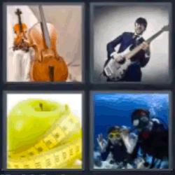 4 fotos 1 palabra violin manzana