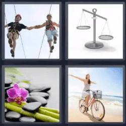 4 fotos 1 palabra pareja haciendo equilibrio