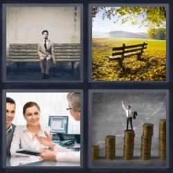 4 fotos 1 palabra hombre sentado