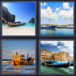 4 fotos 1 palabra barca en la playa gondola