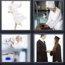 4 fotos 1 palabra mujer de blanco
