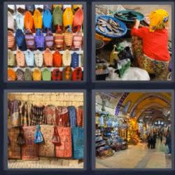 4 fotos 1 palabra bolsas bolsos mercado