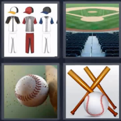 4 fotos 1 palabra bate de beisbol estadio