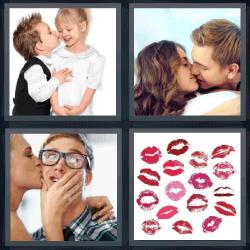 4 fotos 1 palabra besando