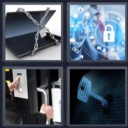 4 fotos 1 palabra laptop con cadena